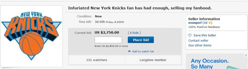 Un aficionado de los Knicks subasta su condición de fan del equipo de...