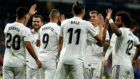 The Real Madrid players celebrate one of the goals against Getafe.