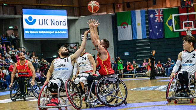 Una imagen del partido entre Japón y España.