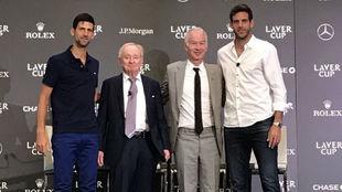Djokovic, Rod Laver, John McEnroe y Del Potro