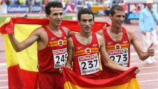Juan Carlos Higuero, Jesús España y Pablo Villalobos, en Goteborg...