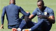 El jamaicano Usain Bolt, durante su primer entrenamiento con el...