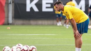 Álvaro Vázquez durante un entrenamiento del Espanyol.