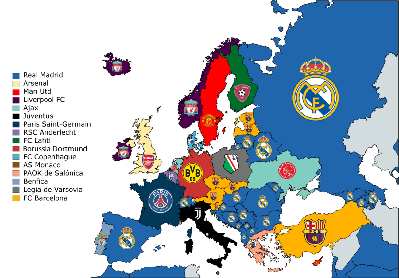 Real Madrid are the most popular team in Europe