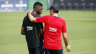 Dembélé y Valverde, en un entrenamiento.