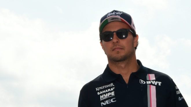 Checo Pérez, a su llegada al circuito de Spa-Francorchamps