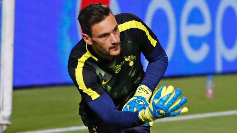 Lloris, durante un entrenamiento con el Tottenham
