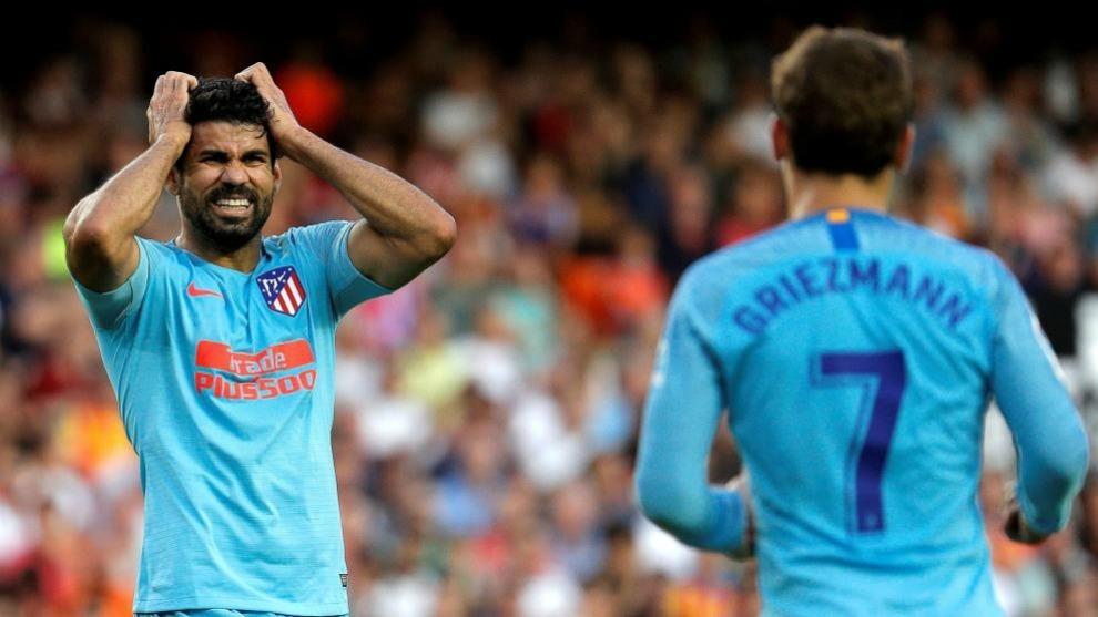 Diego Costa y Antoine Griezmann serán los delanteros del Atlético...