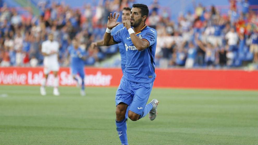 Ángel, celebrando su gol ante el Eibar.