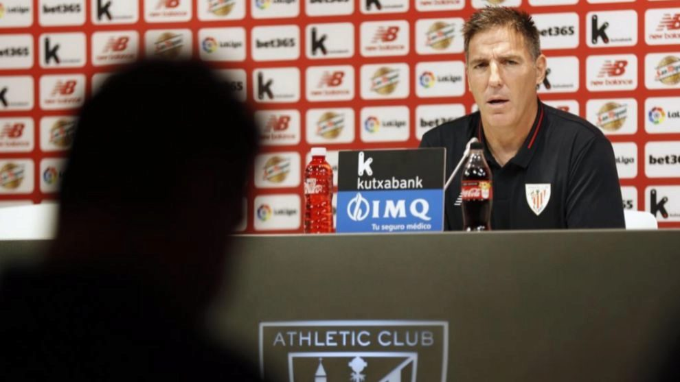 Berizzo during a press conference at San Mames
