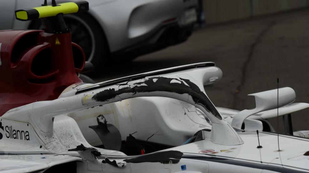 Halo del Sauber de Charles Leclerc, después del accidente en Spa