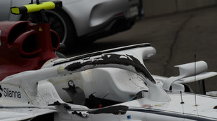 Halo del Sauber de Charles Leclerc, después del accidente en Spa