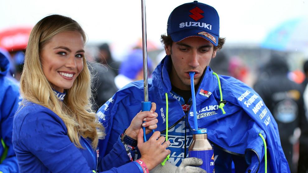 Álex Rins, durante la jornada del domingo en Silverstone