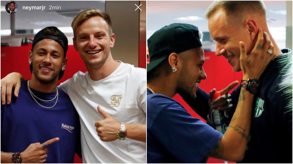 Neymar visits his former teammates in Barcelona