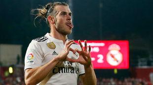 Bale celebra el gol de Montilivi