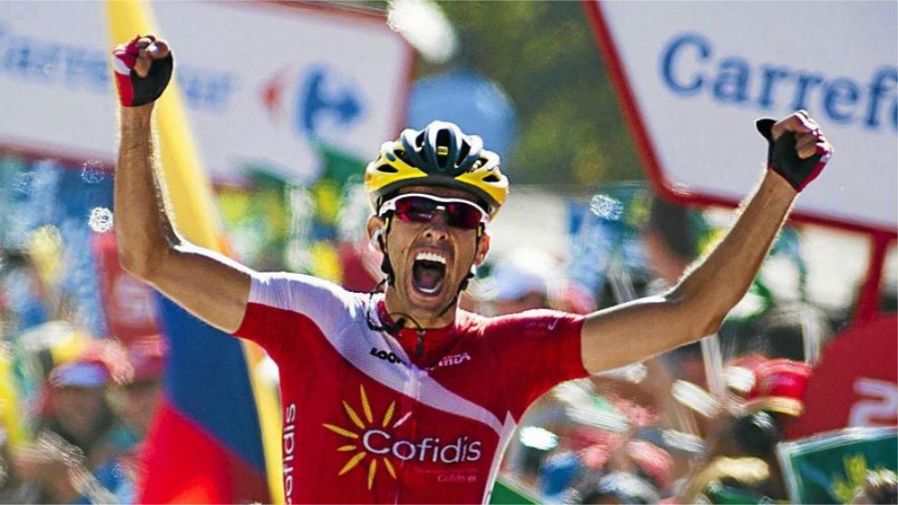 Dani Navarro celebró así su triunfo en Cabárceno, en la Vuelta...