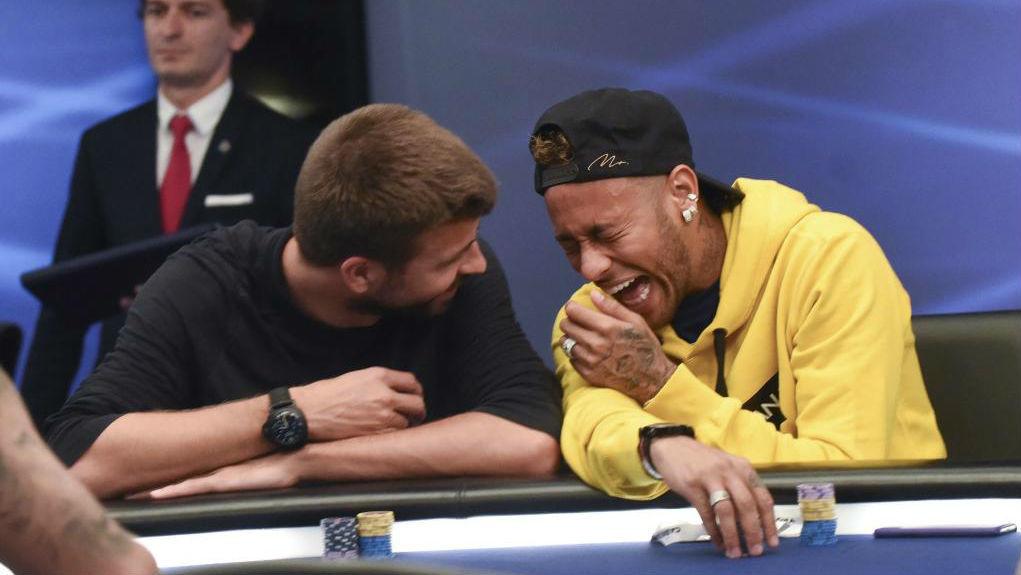 Piqué y Neymar, durante el torneo organizado por PokerStars.