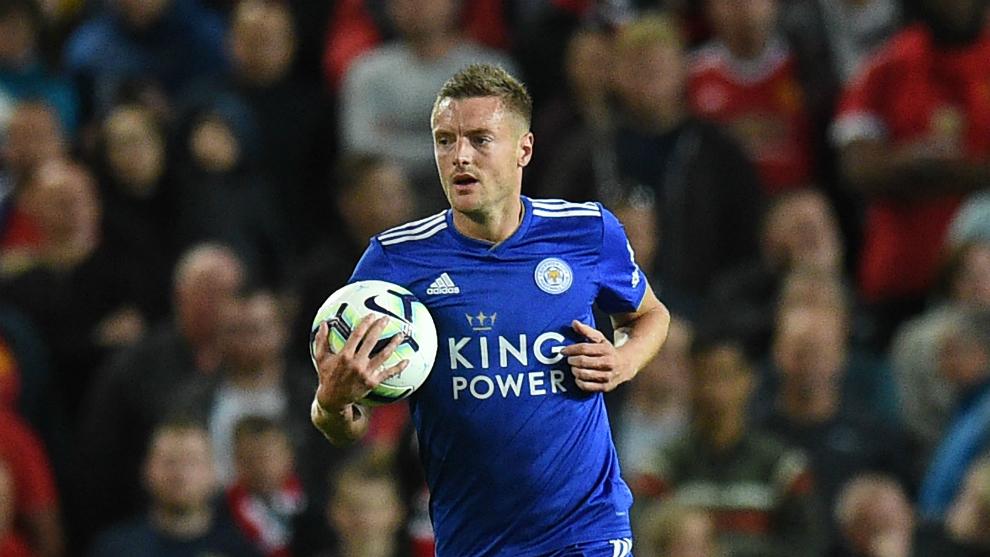Vardy celebra el gol marcado en Old Trafford en la primera jornada de...