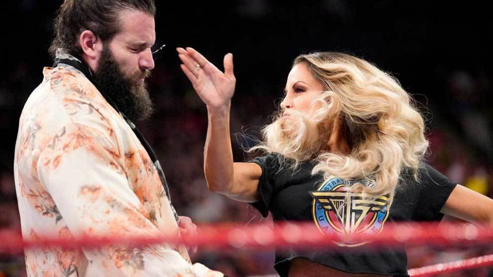 The forty-year-old diva of wrestling slaps Elias after he said she was...
