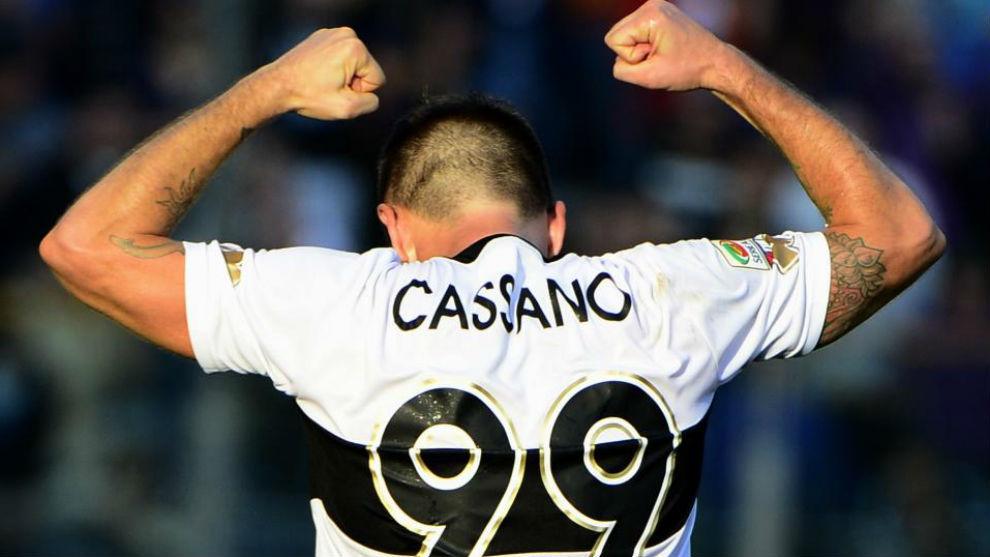 Parma FC 's forward Antonio Cassano celebrates after scoring during...