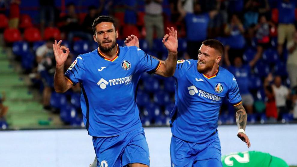 Jorge Molina celebra su gol ante el Eibar