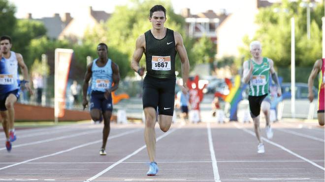 Bruno Hortelano, durante la carrera de los 100 metros en Getafe