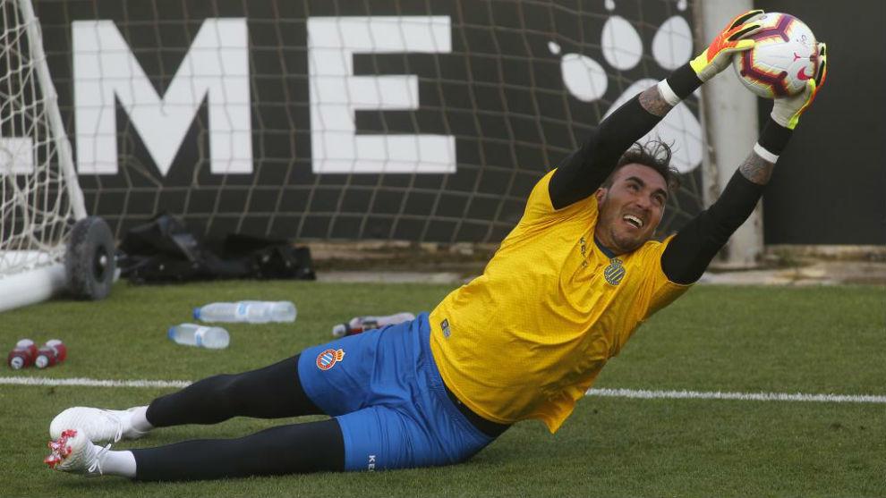 Roberto, en un entrenamiento
