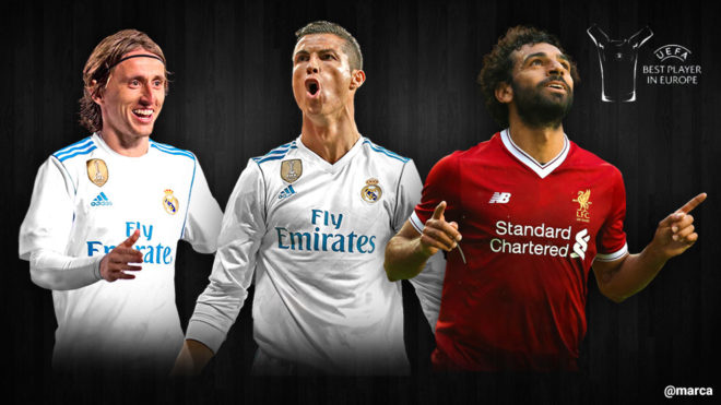 Luka Modric, Cristiano Ronaldo y Mohamed Salah