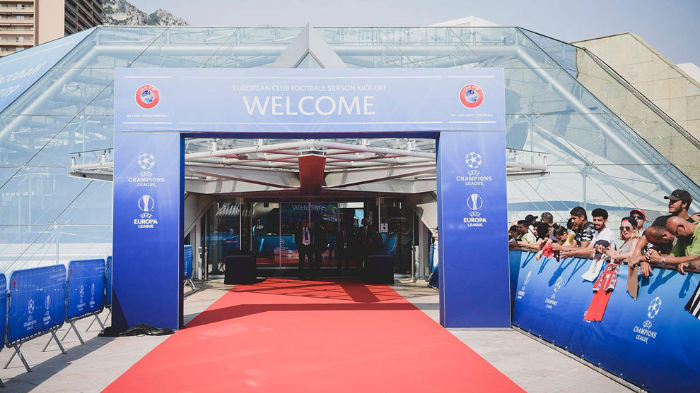 Entrance to the Grimaldi Hall in Monaco where the Champions League...