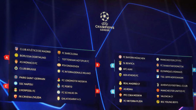 Calendar for the group stage of the Champions League: Dates and times