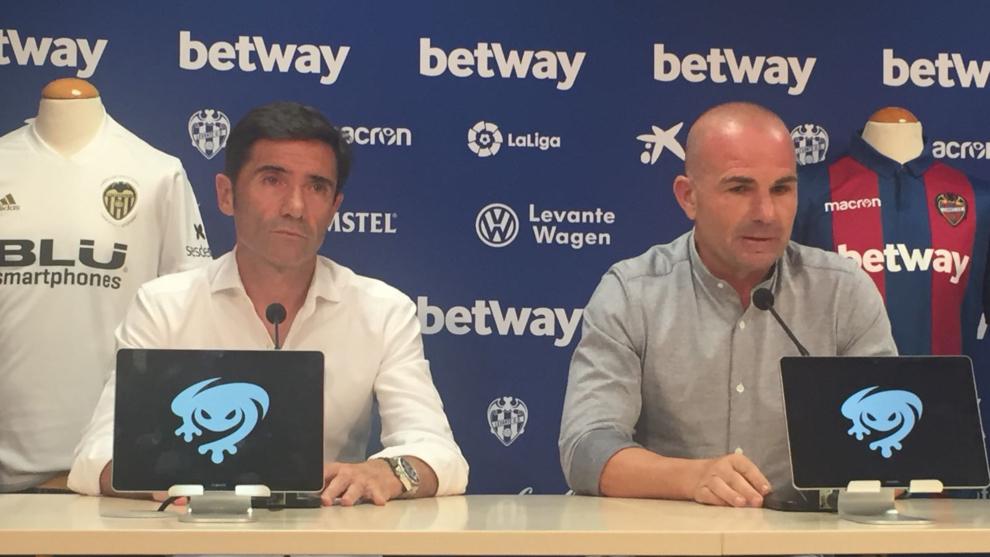 Marcelino y Paco López durante la rueda de prensa conjunta en el...