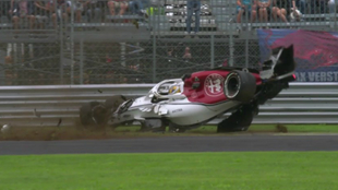 Ericsson, en un momento del espectacular accidente.