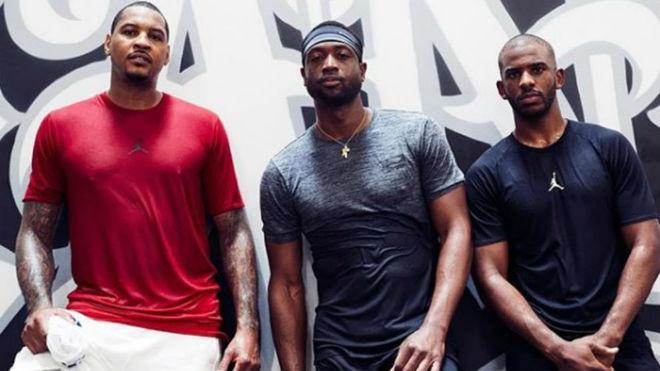 Dwyane Wade tras un entrenamiento con Carmelo Anthony y Chris Paul...