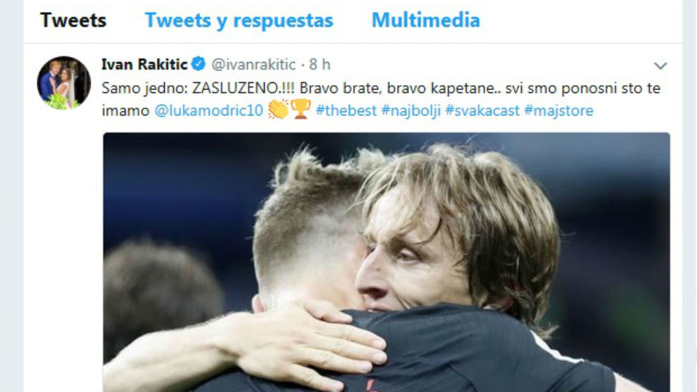 Rakitic congratulates Modric for UEFA Player of the Year award