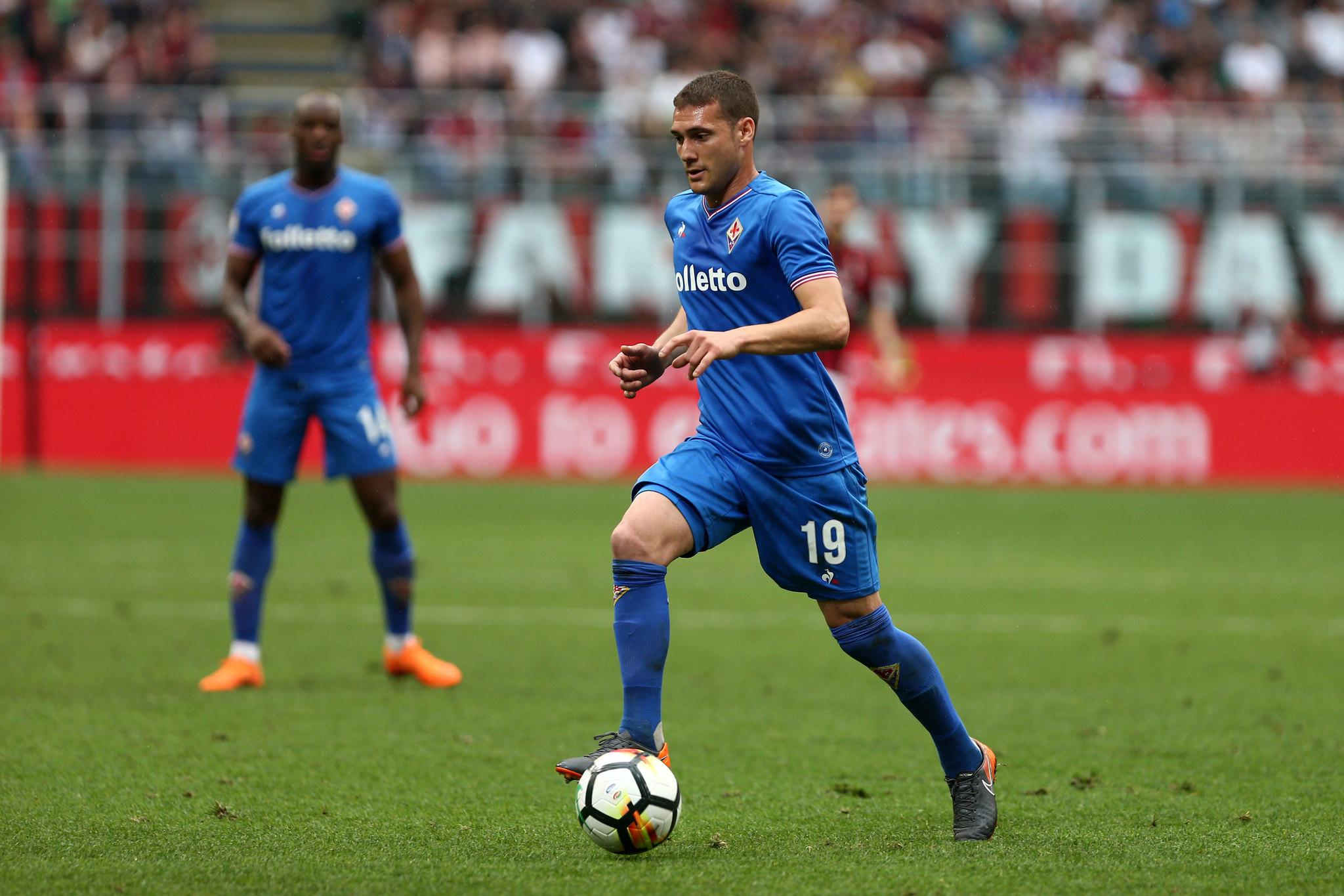Cristóforo, durante el partido de la Fiorentina ante el Milan el...