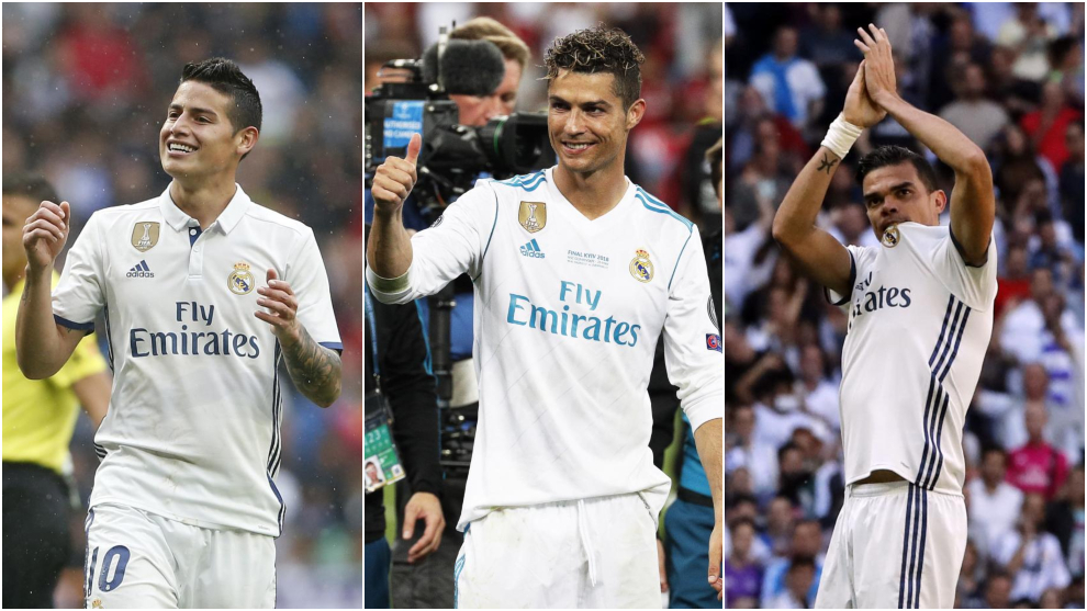 James Rodriguez, Cristiano Ronaldo and Pepe