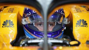Fernando Alonso, en el 'cockpit' del McLaren.