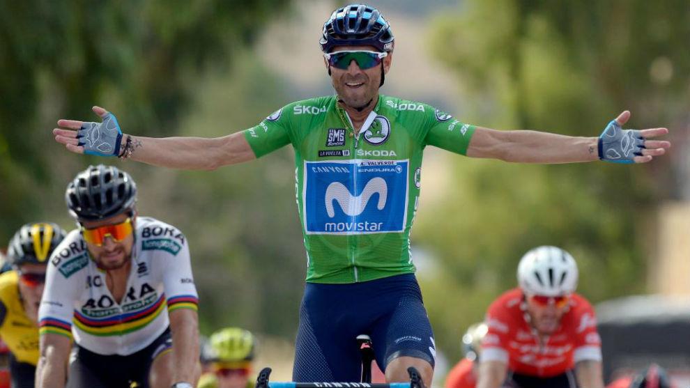 Alejandro Valverde celebrates as he crosses the finish line
