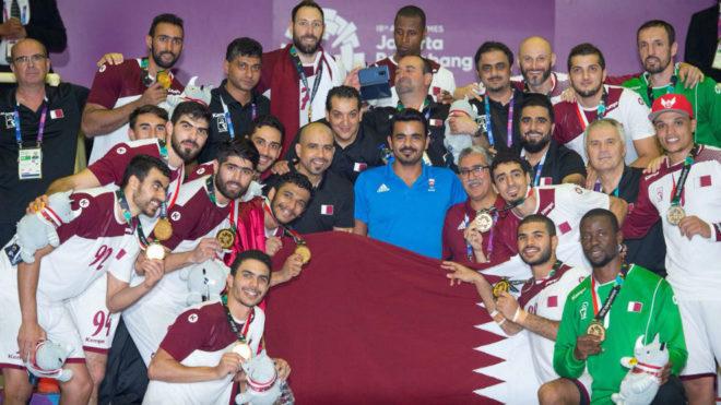 La selección qatarí celebra el oro en los Juegos Asiáticos