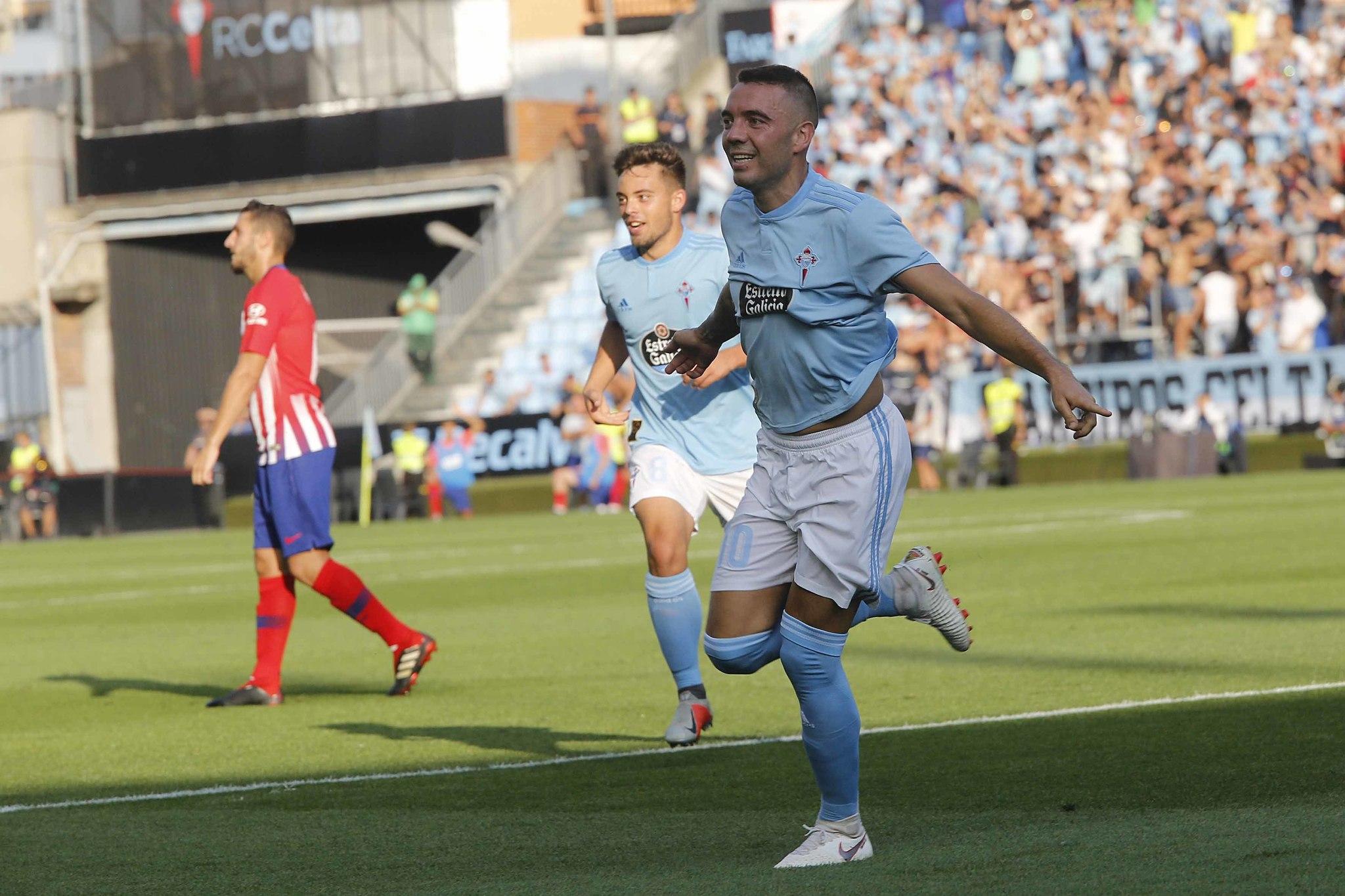 Aspas celebra su gol ante el Atlético