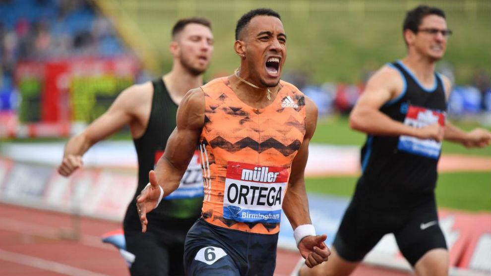 Orlando Ortega celebra su llegada a meta