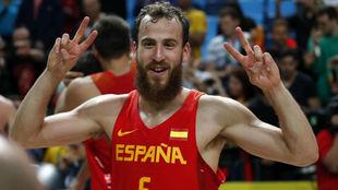 Sergio Rodríguez, eufórico tras ganar el bronce con España en los...