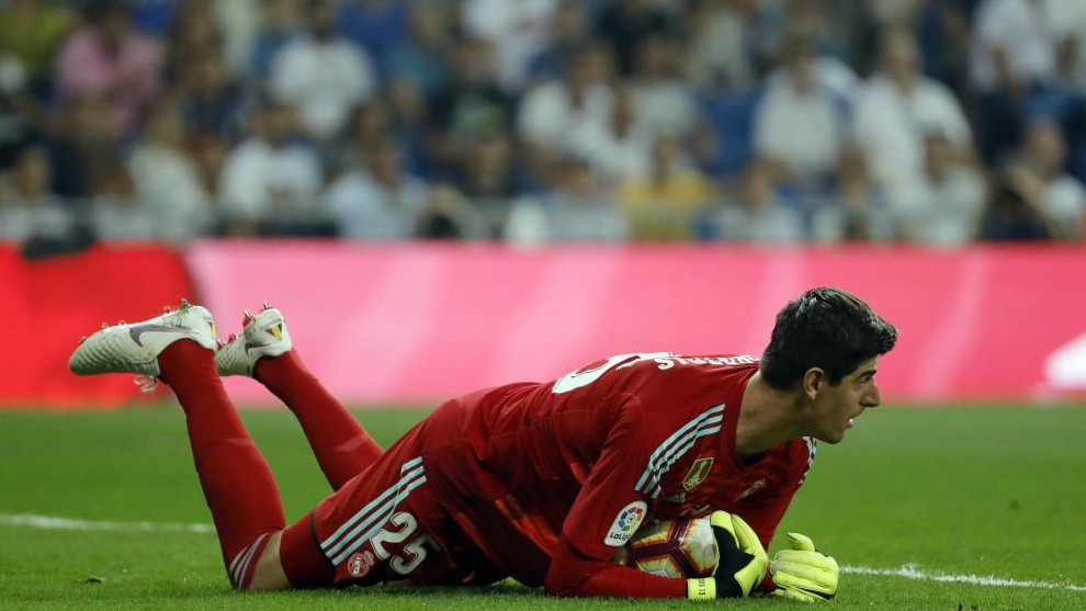 Real Madrid Belgian goalkeeper Thibaut Courtois
