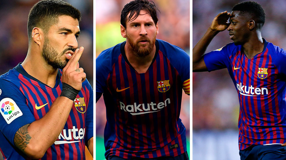 Luis Suarez, Lionel Messi and Ousmane Dembele
