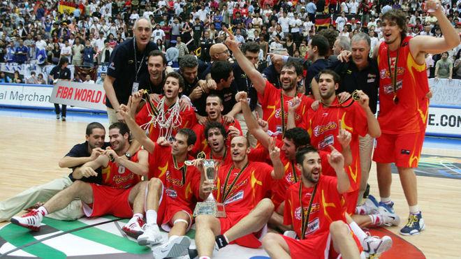 Los jugadores de la selección española celebrando el Mundial