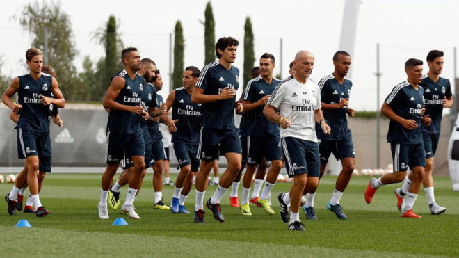 Real Madrid players during a training session