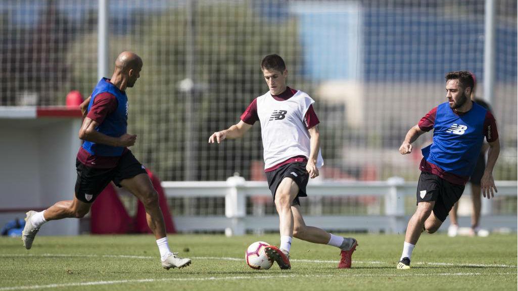 Sancet, durante un entrenamiento con el Athletic.