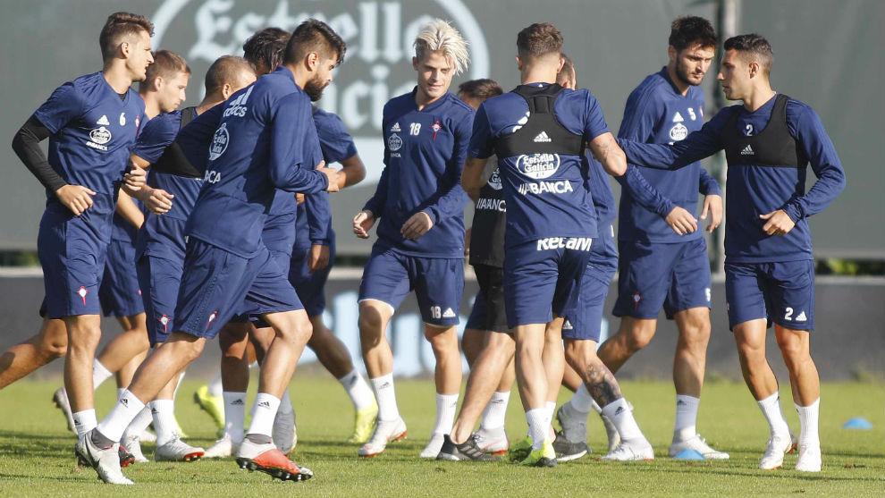 Imagen de un entrenamiento del Celta de Vigo.