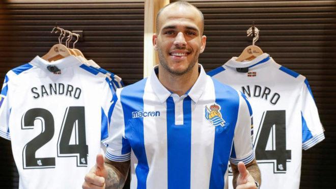 Sandro, el día de su presentación como nuevo futbolista de la Real...