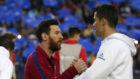 Messi y Cristiano antes de un Barça-Madrid